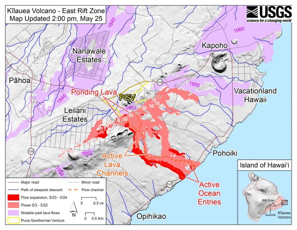 Map as of 2:00 p.m. HST, May 25. Shaded purple areas indicate lava flows erupted in 1840, 1955, 1960, and 2014-2015.