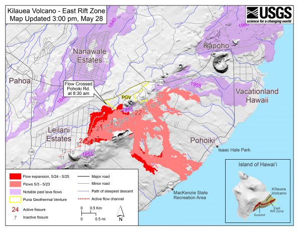 Map as of 3:00 p.m. HST, May 28, 2018. Shaded purple areas indicate lava flows erupted in 1840, 1955, 1960, and 2014-2015.