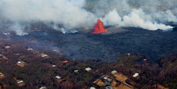 Lava fountaining on the Lower East Rift Zone. Photo taken Wednesday, May 30, 2018 courtesy of Hawaii County Fire Department