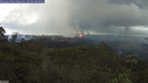 This image is from a temporary research camera positioned near Kapoho looking southwest. From left to right, one can see the eruptive fissures. Image taken at 6:35 a.m. Thursday, May 31, 2018.