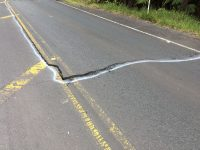 Earthquake damage on Mamalahoa Highway (Route 11) in Hawaii Volcanoes National Park. National Park Service Photo.