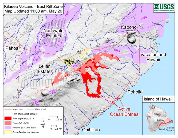 Map as of 11:00 am HST, May 20. Shaded purple areas indicate lava flows erupted in 1840, 1955, 1960, and 2014-2015. Site of active ocean entry is shown with dots.