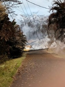 Utility poles down in Leilani Estates subdivision Sunday, May 13, 2018. Photo courtesy of HELCO.