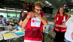 Debra Smith, a Puna resident, found comfort at and emotional care at the Red Cross Pahoa Shelter. Photo courtesy of Red Cross.