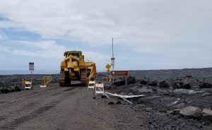 A bulldozer works in Hawaii Volcanoes National Park to work on Chain of Craters-Kalapana Road. NPS Photo