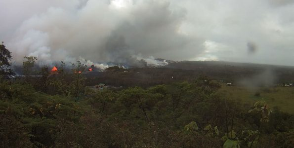Panorama of Lower East Rift Zone Webcam at 7:06 a.m. Thursday, May 24, 2018. Image courtesy of the U.S. Geological Survey.