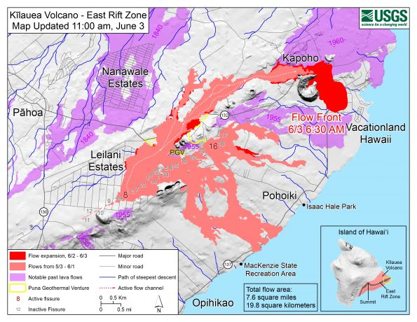 Map as of 11:00 a.m. HST, June 3, 2018. Given the dynamic nature of Kīlauea's lower East Rift Zone eruption, with changing vent locations, fissures starting and stopping, and varying rates of lava effusion, map details shown here are accurate as of the date/time noted. Shaded purple areas indicate lava flows erupted in 1840, 1955, 1960, and 2014-2015.