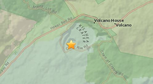 3:51 p.m. HST Sunday (June 3) earthquake epicenter at Kilauea summit.