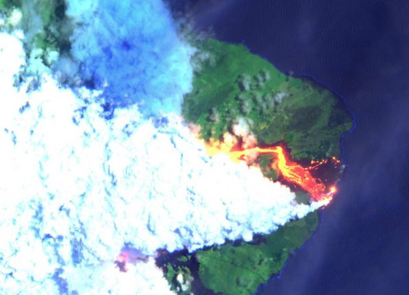 Image captured at 11 a.m. Wednesday, June 6, 2018 of the Kilauea Eruption Lower East Rift Zone via the Sentinel-2 Earth-observing satellite from the Copernicus Programme of the European Commission in partnership with the European Space Agency (ESA).