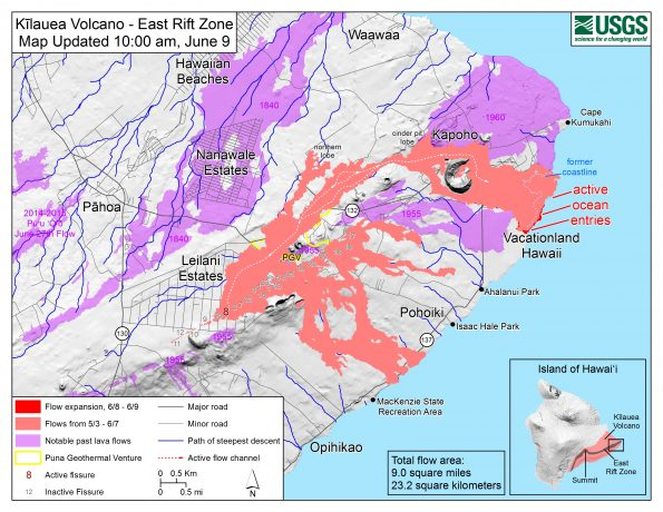 Map as of 10:00 a.m. HST, June 9, 2018. The fissure 8 flow has created a lava delta approximately 200 acres in size, filling Kapoho Bay and shallow reefs along the nearby coastline. Given the dynamic nature of Kīlauea's lower East Rift Zone eruption, with changing vent locations, fissures starting and stopping, and varying rates of lava effusion, map details shown here are accurate as of the date/time noted. Shaded purple areas indicate lava flows erupted in 1840, 1955, 1960, and 2014-2015.