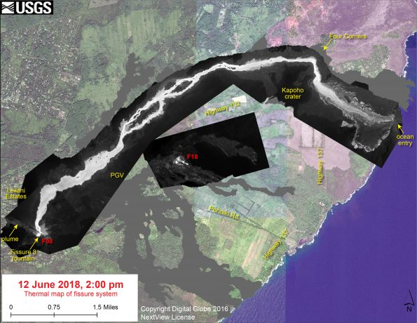 This thermal map shows the fissure system and lava flows as of 2 pm on Tuesday, June 12. The fountain at Fissure 8 remains active, with the lava flow entering the ocean at Kapoho. Very small, weak lava flows have been active recently near the Fissure 18 area. The black and white area is the extent of the thermal map. Temperature in the thermal image is displayed as gray-scale values, with the brightest pixels indicating the hottest areas. The thermal map was constructed by stitching many overlapping oblique thermal images collected by a handheld thermal camera during a helicopter overflight of the flow field. The base is a copyrighted color satellite image (used with permission) provided by Digital Globe.