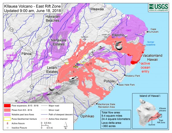 Map as of 9:00 a.m. HST, June 18, 2018. Given the dynamic nature of Kīlauea's lower East Rift Zone eruption, with changing vent locations, fissures starting and stopping, and varying rates of lava effusion, map details shown here are accurate as of the date/time noted. Shaded purple areas indicate lava flows erupted in 1840, 1955, 1960, and 2014-2015.