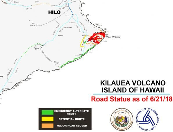 A graphic (not to scale) representation of the road status in the East Rift Zone as of June 21, 2018.