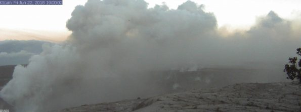 This image is from a research camera mounted in the observation tower at the Hawaiian Volcano Observatory. The camera is looking SSE towards the active vent in Halemaʻumaʻu, 1.9 km (1.2 miles) from the webcam. Webcam image taken Friday, June 22, 2018 courtesy of U.S. Geological Survey