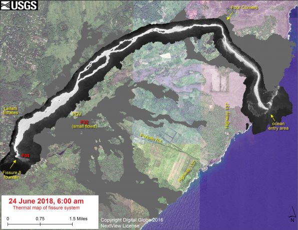 This thermal map shows the fissure system and lava flows as of 6 am on Sunday, June 24. The fountain at Fissure 8 remains active, with the lava flow entering the ocean at Kapoho. Very small, short flows were observed today near Fissure 22. The black and white area is the extent of the thermal map. Temperature in the thermal image is displayed as gray-scale values, with the brightest pixels indicating the hottest areas. The thermal map was constructed by stitching many overlapping oblique thermal images collected by a handheld thermal camera during a helicopter overflight of the flow field. The base is a copyrighted color satellite image (used with permission) provided by Digital Globe.