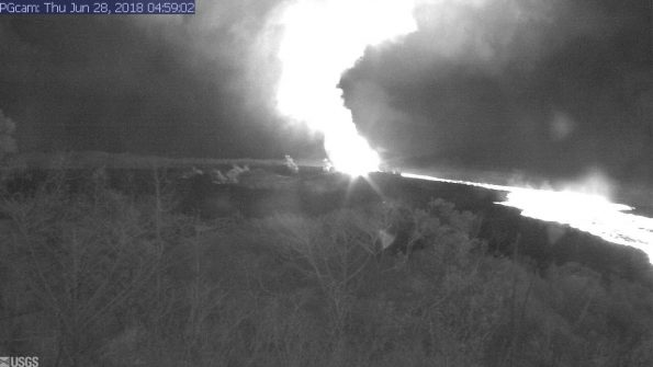 This image is from a temporary research camera positioned near Kapoho looking southwest. From left to right, one can see the eruptive fissures, with Fissure 15 on the far left, and Fissure 8 near the center. Webcam image taken Thursday, June 28, 2018 courtesy of U.S. Geological Survey