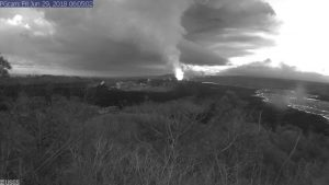 This image is from a temporary research camera positioned near Kapoho looking southwest. From left to right, one can see the eruptive fissures, with Fissure 15 on the far left, and Fissure 8 near the center. Webcam image taken Friday, June 29, 2018 courtesy of U.S. Geological Survey