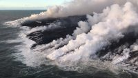 During the June 29 overflight, USGS scientists observed multiple active spots along the Kapoho ocean entry producing laze plumes. Photo taken Friday, June 29, 2018 courtesy of U.S. Geological Survey