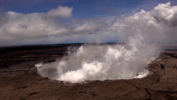 An aerial view of Halema'uma'u at the summit of Kīlauea Volcano captured from an Unmanned Aircraft Systems (UAS) overflight video on May 31, 2018. Limited UAS flights into this hazardous area are conducted with permission and coordination with Hawaiʻi Volcanoes National Park to collect visual information on this changing eruption site. Scientists will examine the video footage in detail to understand the evolution of the expanding collapse area and assess hazards at Kīlauea's summit. Credit: U.S. Department of the Interior, Office of Aviation Services, and the U.S. Geological Survey.