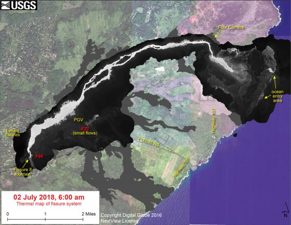 This thermal map shows the fissure system and lava flows as of 6 am on Monday, July 2 The fountain at Fissure 8 remains active, with the lava flow entering the ocean at Kapoho. Small flows were observed today near Fissure 22. The black and white area is the extent of the thermal map. Temperature in the thermal image is displayed as gray-scale values, with the brightest pixels indicating the hottest areas. The thermal map was constructed by stitching many overlapping oblique thermal images collected by a handheld thermal camera during a helicopter overflight of the flow field. The base is a copyrighted color satellite image (used with permission) provided by Digital Globe.