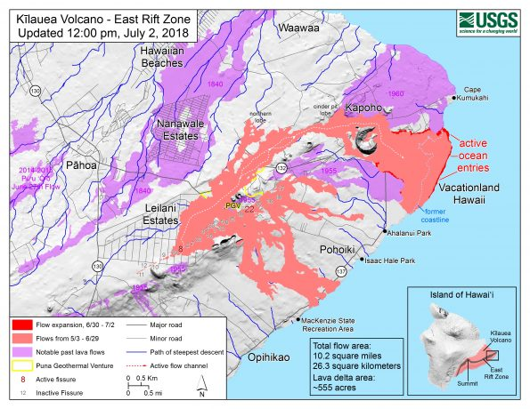 Map as of 12:00 p.m. HST, July 2, 2018. Given the dynamic nature of Kīlauea's lower East Rift Zone eruption, with changing vent locations, fissures starting and stopping, and varying rates of lava effusion, map details shown here are accurate as of the date/time noted. Shaded purple areas indicate lava flows erupted in 1840, 1955, 1960, and 2014-2015.
