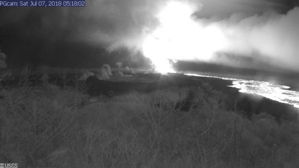 This image is from a temporary research camera positioned near Kapoho looking southwest. From left to right, one can see the eruptive fissures, with Fissure 15 on the far left, and Fissure 8 near the center.Webcam image taken Saturday, July 7, 2018 courtesy of U.S. Geological Survey