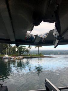 Tour boat damage from lava explosion off the Puna coast Monday, July 16, 2018. Photo courtesy of DLNR