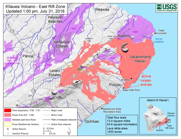 Map as of 1:00 p.m. HST, July 31, 2018. Given the dynamic nature of Kīlauea's lower East Rift Zone eruption, with changing vent locations, fissures starting and stopping, and varying rates of lava effusion, map details shown here are accurate as of the date/time noted. Shaded purple areas indicate lava flows erupted in 1840, 1955, 1960, and 2014-2015.