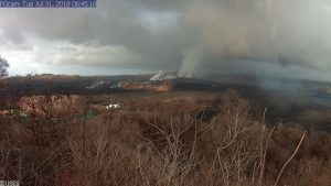 This image is from a temporary research camera positioned near Kapoho looking southwest. One can see the eruptive fissure with Fissure 8 near the center.Webcam image taken Tuesday, July 31, 2018 courtesy of U.S. Geological Survey