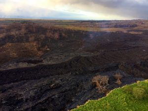 An 'a'ā flow on the western flank of Halekamahina, a cone west of Kapoho Crater. Photo taken Sunday, August 5, 2018 courtesy of U.S. Geological Survey