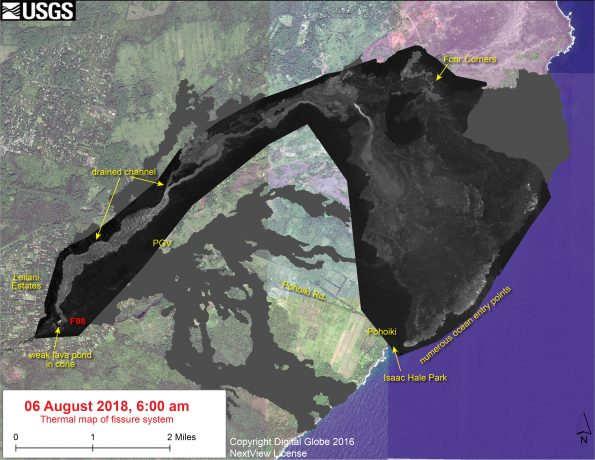 This thermal map shows the fissure system and lava flows as of 6 am on Monday, August 6. Fissure 8 activity has decreased substantially over the past few days, with only a weak lava pond active within the Fissure 8 cone. There were no signs on the surface of lava being supplied from the vent into the channel. Nevertheless, residual lava in the flow continues to enter the ocean, mainly around Ahalanui. The black and white area is the extent of the thermal map. The temperature in the thermal image is displayed as gray-scale values, with the brightest pixels indicating the hottest areas. The thermal map was constructed by stitching many overlapping oblique thermal images collected by a handheld thermal camera during a helicopter overflight of the flow field. The base is a copyrighted color satellite image (used with permission) provided by Digital Globe.