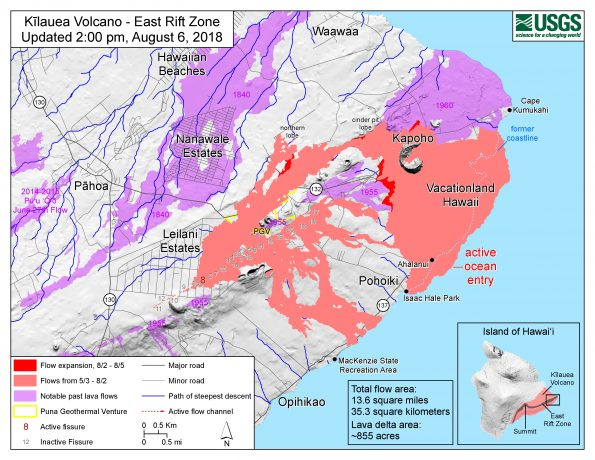 Map as of 2:00 p.m. HST, August 6, 2018. Given the dynamic nature of Kīlauea's lower East Rift Zone eruption, with changing vent locations, fissures starting and stopping, and varying rates of lava effusion, map details shown here are accurate as of the date/time noted. Shaded purple areas indicate lava flows erupted in 1840, 1955, 1960, and 2014-2015.