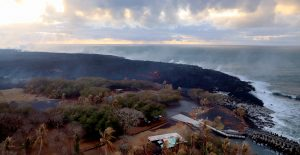Active breakouts on the western side of the Ahalanui lobe of the fissure 8 flow near Isaac Hale Beach Park were visible this morning. There was no apparent advance of the flow toward the Pohoiki boat ramp since yesterday. Photo taken Tuesday, August 7, 2018 courtesy of U.S. Geological Survey