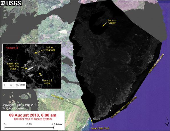 This thermal map shows the fissure system and lava flows as of 6 am on Saturday, August 11. Residual lava in the Fissure 8 flow continues to drain, feeding numerous small ocean entries (shown in main map). In the Fissure 8 cone there were two small lava ponds (shown in small inset map). The black and white area is the extent of the thermal map. Temperature in the thermal image is displayed as gray-scale values, with the brightest pixels indicating the hottest areas. The thermal map was constructed by stitching many overlapping oblique thermal images collected by a handheld thermal camera during a helicopter overflight of the flow field. The base is a copyrighted color satellite image (used with permission) provided by Digital Globe.