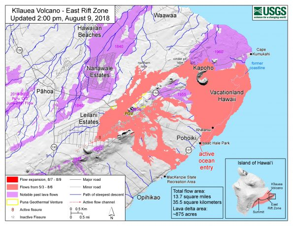 Map as of 2:00 p.m. HST, August 9, 2018. Given the dynamic nature of Kīlauea's lower East Rift Zone eruption, with changing vent locations, fissures starting and stopping, and varying rates of lava effusion, map details shown here are accurate as of the date/time noted. Shaded purple areas indicate lava flows erupted in 1840, 1955, 1960, and 2014-2015.