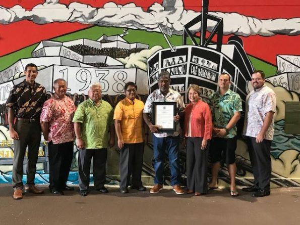 "Unveiling of the mural: Harbors District Manager for Hawaii Island, Jeff Hood; Dustin Dawson, International Field Representative – Hawaii ILWU; Senator Lorraine Inouye; Deputy Director for Harbors, Darrell Young. ""Legacy of solidarity"" by Solomon Enos and Kai Kaulukukui"