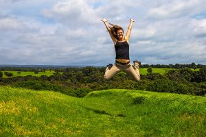 "Photo of Kahuku visitor ""jumping for joy"" in Hawai`i Volcanoes National Park/NPS Photo by Janice Wei"
