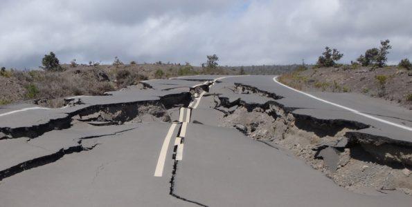 Impassable earthquake damaged Crater Rim Drive past Keanakakoi. NPS Photo