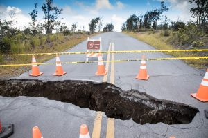 Large sinkhole at Kilauea Overlook intersection. NPS Photo