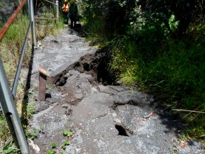 A large sinkhole on the Kilauea Iki Trail at Hawaii Volcanoes National Park. NPS Photo.