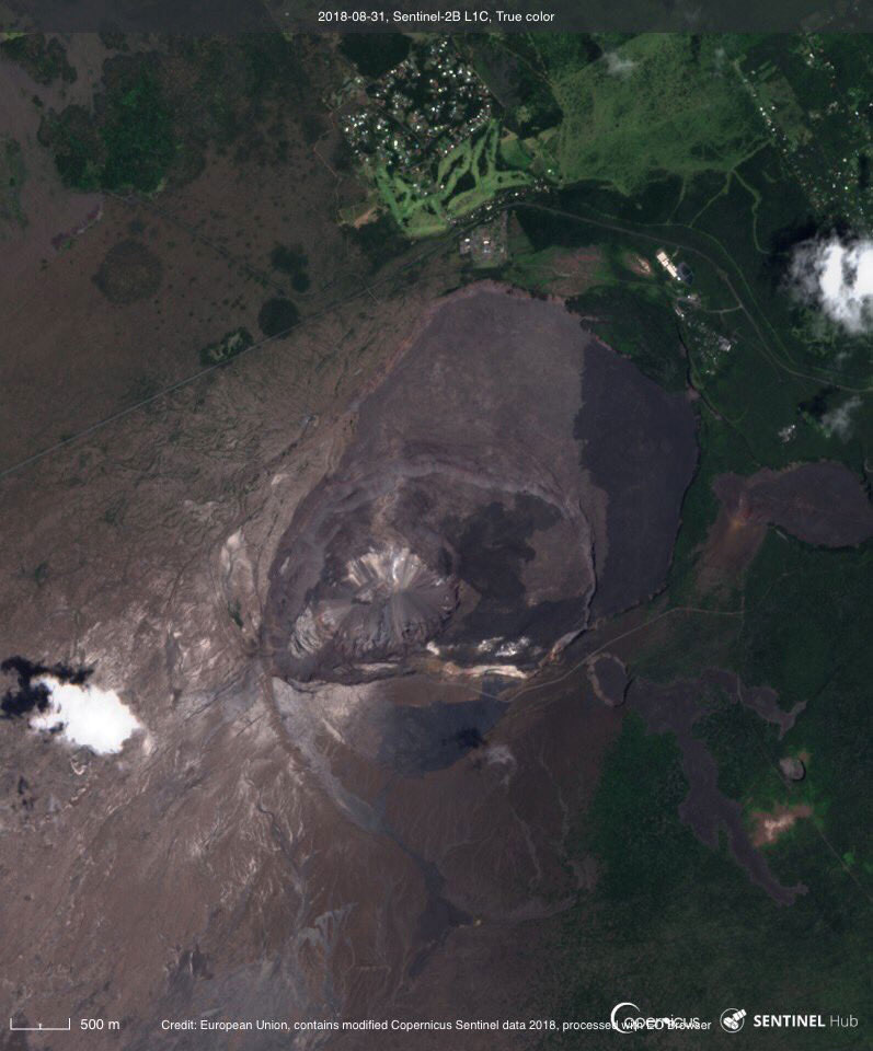 Kilauea summit, August 31, 2018. Image courtesy of EU, modified Copernicus Sentinel data.