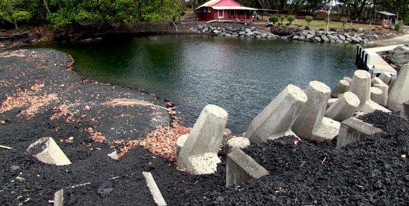 Pohoiki Boat Ramp and the new black sand beaches. DLNR Photo