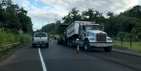 Roadwork along Mamalahoa Highway (Route 19) near Paukaa. Hawaii 24/7 File Photo