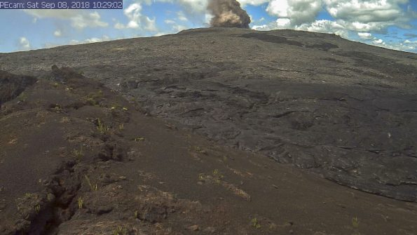 On September 8, a series of small collapses occurred within the Pu'u 'Ō'ō crater throughout the day, with each producing a visible brown plume. The largest, shown in this webcam image, occurred at about 10:30 a.m. HST. The collapses generated small tilt offsets and seismic energy recorded by nearby geophysical instruments, but had no discernible effect on other parts of the rift zone. Photo taken Saturday, September 8, 2018 courtesy of U.S. Geological Survey