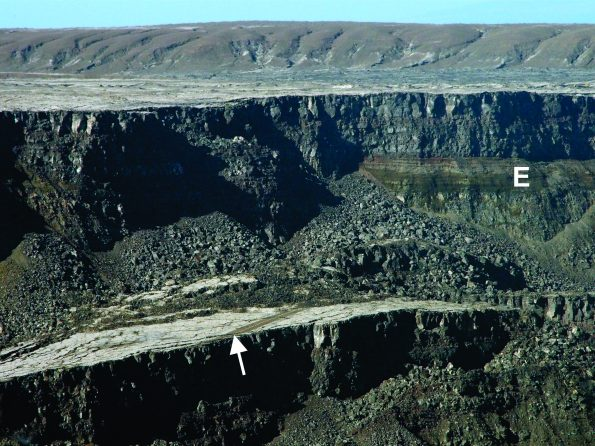 South side of Halemaʻumaʻu at the summit of Kīlauea Volcano, showing a short section of Hawaiʻi Volcanoes National Park's Crater Rim Drive (arrow) preserved on a block of the former caldera floor that has dropped down about 80 m (260 ft). Thinly bedded Kīlauea explosion deposits (E) from 16th-18th centuries are overlain by 19th and 20th century lava flows in the wall of Halemaʻumaʻu. USGS photo by D. Swanson.
