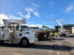 Hawaii Electric Light Company crews prepare to work on bringing power back to Leilani Estates. Photo courtesy of HELCO.