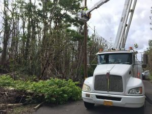 Hawaii Electric Light Company crews work on bringing power back to Leilani Estates. Photo courtesy of HELCO.
