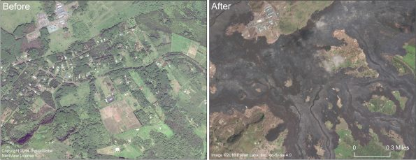 This comparison shows before and after images in the area of Lanipuna Gardens subdivision. Pohoiki Road runs left to right through the center of the image. The Puna Geothermal Ventures site is in the upper left portion of the image. For a map of the 2018 lower East Rift Zone eruption fissures and surrounding area, see the HVO web site:
