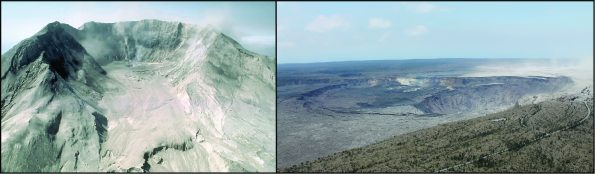 Left: Horseshoe-shaped crater of Mount St. Helens in 1980, formed by a landslide that removed the top of the volcano. The crater is about 2 km (1.2 mi) wide and the floor is about 600 m (1,970 ft) below the crater rim. Right: Halema'uma'u nestled in the summit crater of Kīlauea Volcano on August 1, the day before the last collapse event. The Hawaiian Volcano Observatory building is visible at far right. USGS photos.