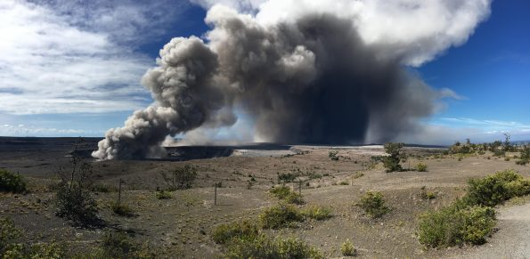 Ash from an explosive event at Halema'uma'u on May 15, 2018, was blown by trade winds to the southwest, where it fell from the plume and blanketed the Kaʻū Desert landscape. Samples of this ash were collected for ash leachate analyses as part of the assessment of hazards from Kīlauea Volcano's eruption. USGS photo by S. Brantley.